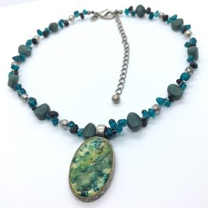 CHICO'S Blue Green Bead Resin Necklace